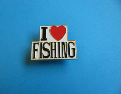 Fishing interest I Love fishing pin Badge Enamel Unused. VGC
