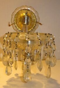 Vtg Glass Curved Ribbed Chandelier Arms Replacement WALL ... on Wall Sconce Replacement Parts id=31006
