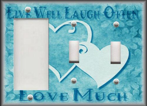 Light Switch Plate Cover Live Laugh Love Hearts Aqua Blue Home Decor