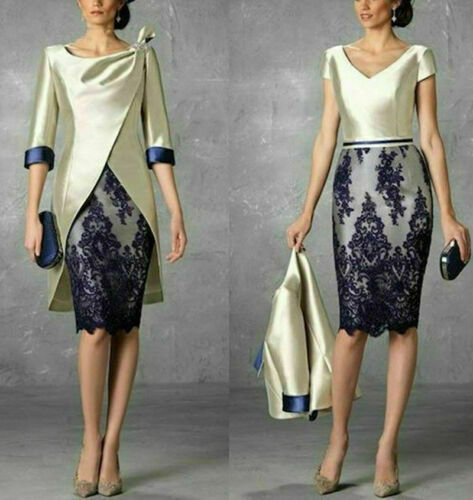 2PCS Mother Of The Bride//Groom Dresses Suits Outfits Formal Evening Guest Gowns