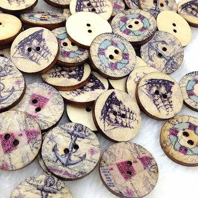 New 10/50/100/500pcs Mix Wood Buttons 20mm Sewing Craft Mix Lots W316