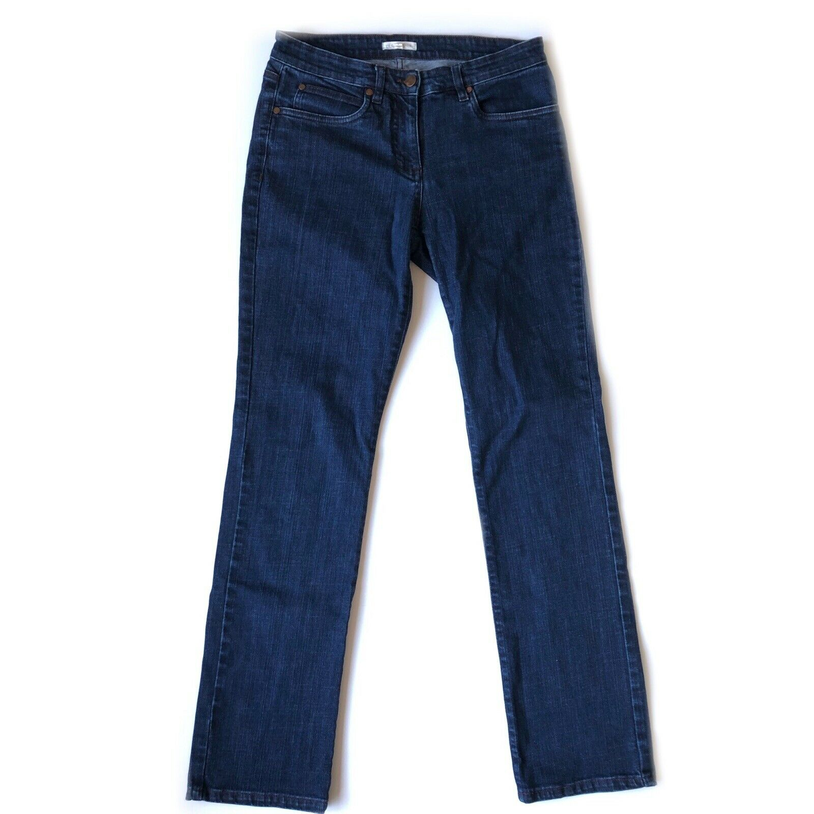 Eileen Fisher Organic Cotton Stretch Straight Jean bluee Size 4 GUC  178 Waist 28