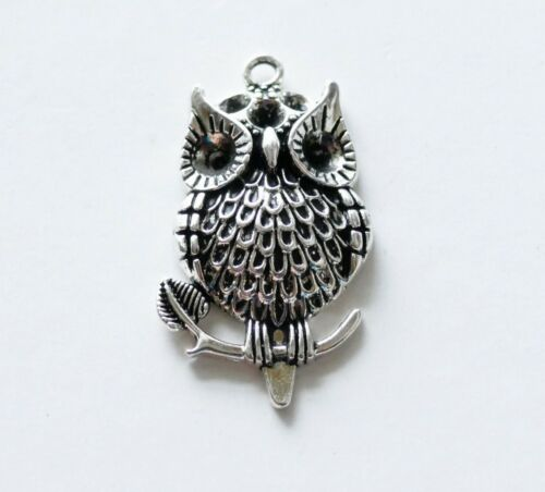 1x Large Owl Charms Bird Pendant Necklace Findings Antique Silver C827