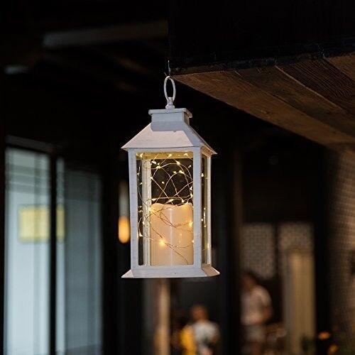 Linternas de Vela Cadena de Luz LED blancoo Interior Al Aire Libre Boda Set 2 Decoración Nuevo