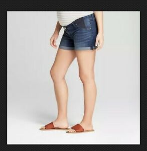 0691e3dc85d41 Isabel Maternity Inset Panel Midi Jean Shorts - Dark Wash Sizes 2-18 ...