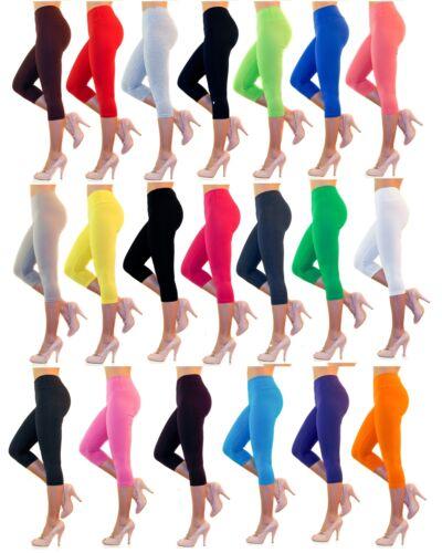 Damen Capri 3//4 Leggings hoher Bund verstärkt Baumwolle Hose Wäsche Leggins kurz