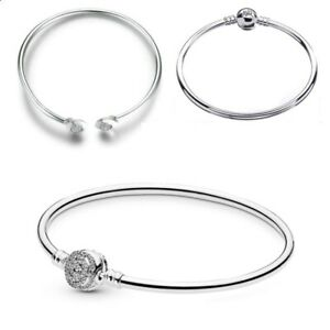 925 Sterling Silver PAN Special Moments Open Bangle Bracelet Fit Euro Charms