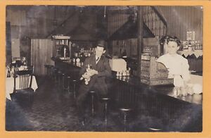 Real Photo Postcard RPPC - Man and Dog at Lunch Counter & Woman at Cash Register