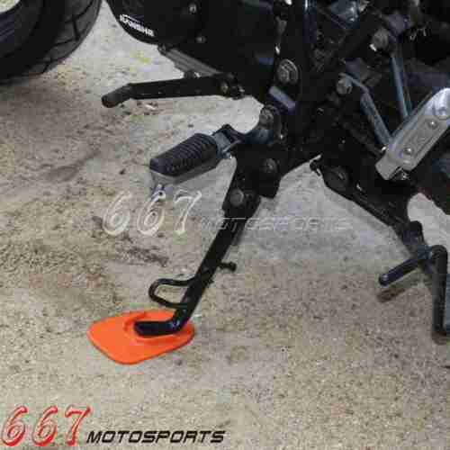 1x Motorcycle Biker Side Kickstand Pad Plate Support Kick Stand Orange Universal