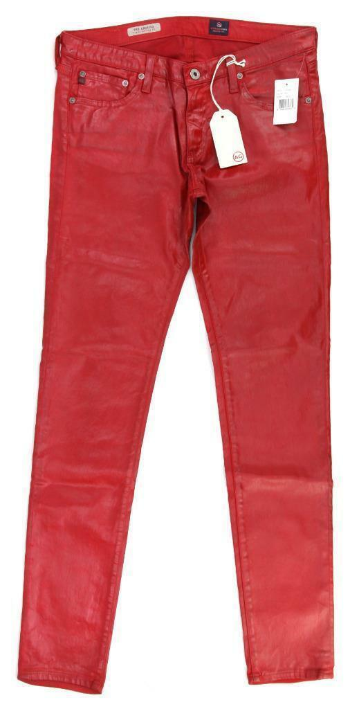 AG Adriano goldschmied  The Legging  Leatherette Leather-Like Jeans Red, Sz 30