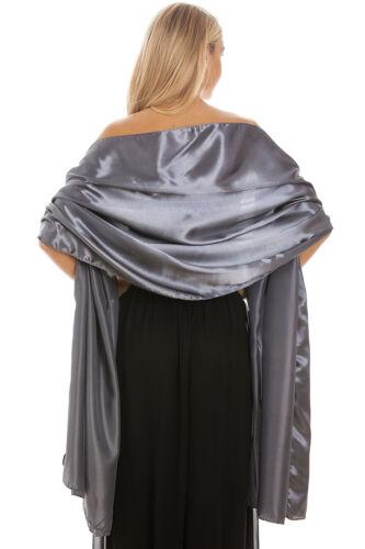 Grey Satin Shawl Stole Pashmina Scarf Bridal Wedding Wrap Bridesmaids S-M L-XL