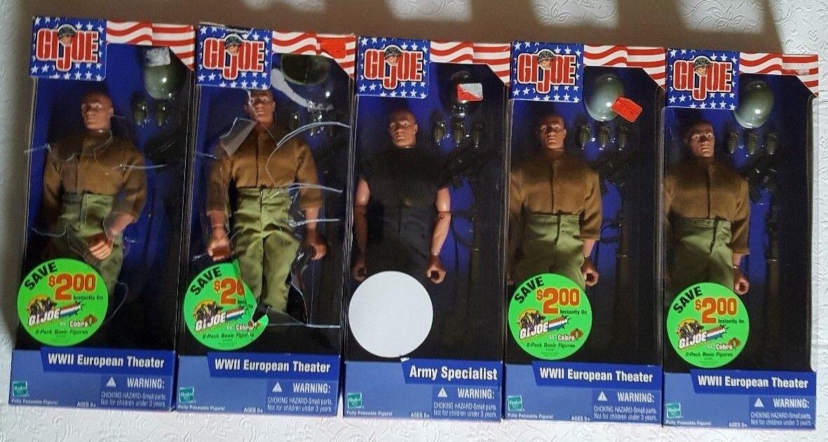2002 Set of FIVE GI Joe Figures   4 WWII European Theater, 1 Army Specialist