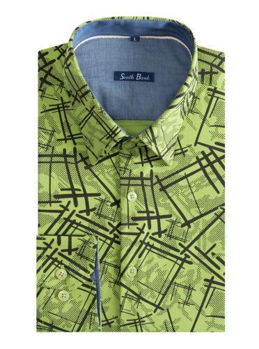 NUOVI Pantaloncini Uomo Animal Print camicia Slim cotone lavato vintage giallo brillante Safari