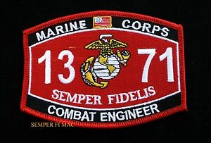 MOS 1371 COMBAT ENGINEER US MARINES PATCH PIN UP SCHOOL SEMPER ...