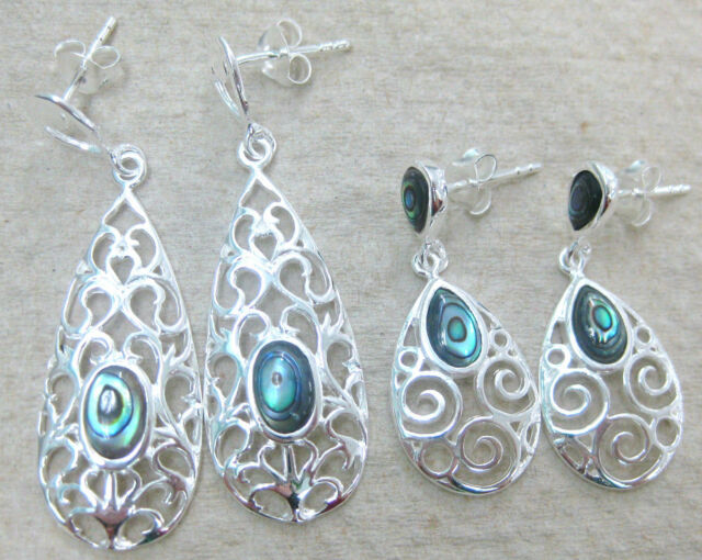 "REAL 925 STERLING SILVER "" PAUA SHELL / ABALONE "" NZ filigree drop earrings GIRL"