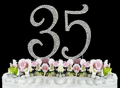 Fine New Large Rhinestone Number 35 Cake Topper 35Th Birthday Party Funny Birthday Cards Online Hetedamsfinfo