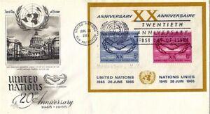 Nazioni UNITE 1965 20th anniversario delle Nazioni Unite M/S FDC