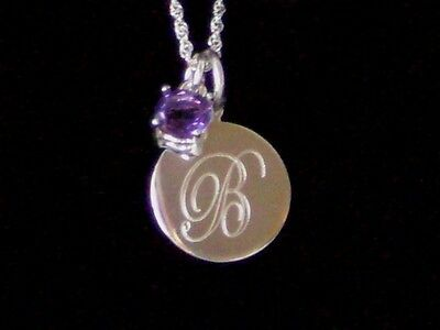 New 925 Sterling Silver Engravable Charm Genuine Amethyst Birthstone Necklace