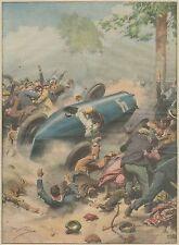 K1283 Parigi - Auto da corsa travolge la folla - Stampa d'epoca - 1934 old print