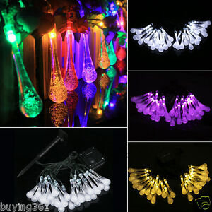 String Lights Over Yard : 30 LED Solar Fairy String Lights Water Drop Outdoor Garden Patio Party Yard 20FT eBay