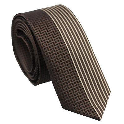Coachella Ties Brown Checks Half Beige Stripe Necktie Contrast Design Skinny Tie