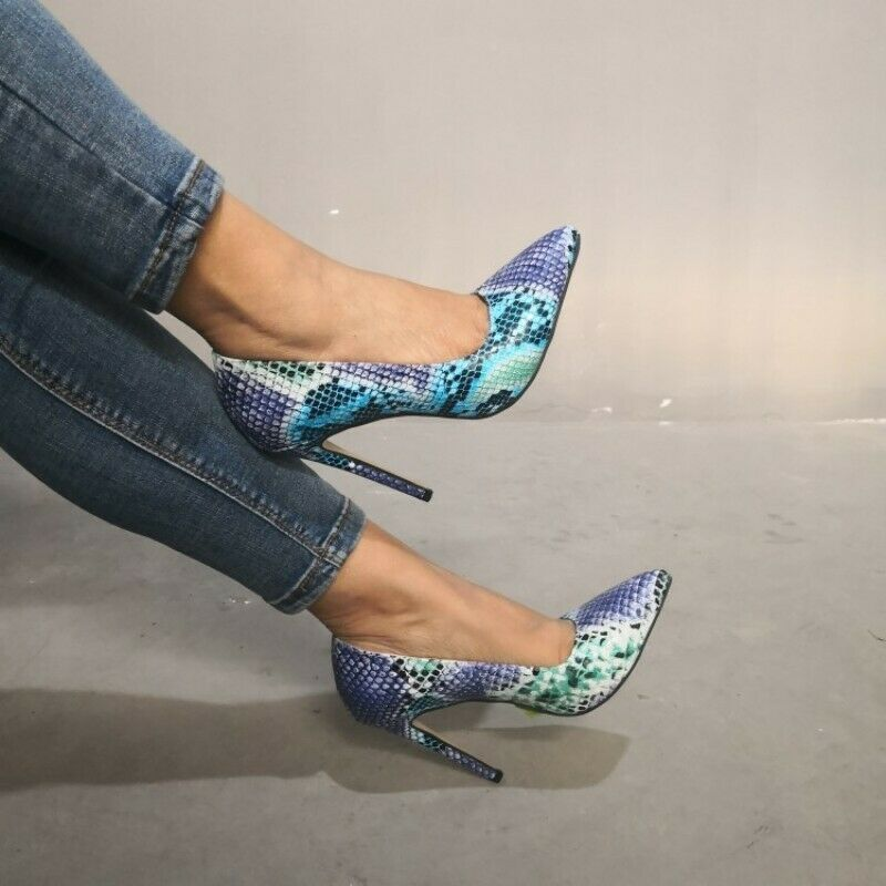 Donna Snakeskin Print Print Print Pointy toe Slip on High Heels Pumps scarpe Large Dimensione 35-47 5f3be0