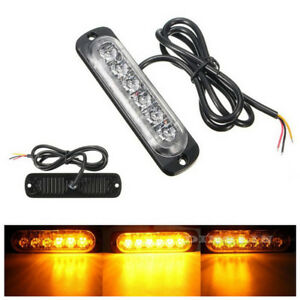 6-LED-Car-Truck-Strobe-Flash-Light-Emergency-Warning-Flashing-Lamp-Yellow-Amber