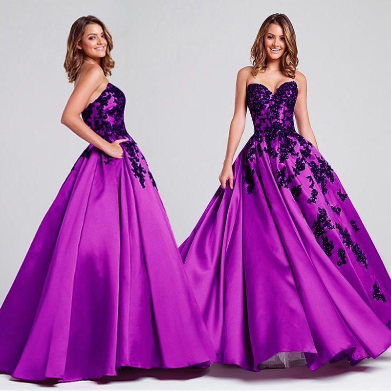 Chic Ballkleid Abendkleid Gala Partykleid Spitze Party Kleid Lila Schwarz BC562L
