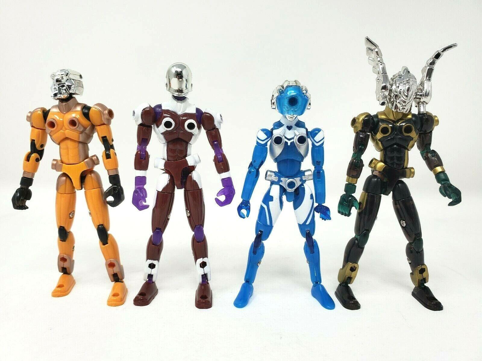 Takara Microman PULGADAS ACROYEAR Conjunto de 4 figuras acrowyvern 4.5  Suelto Completo Usado En Excelente Condición