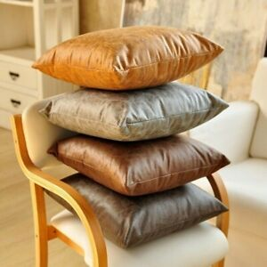 Faux-PU-Leather-Cushion-Cover-Throw-Pillow-Case-Sofa-Bed-Home-Decor-Retro-Luxury