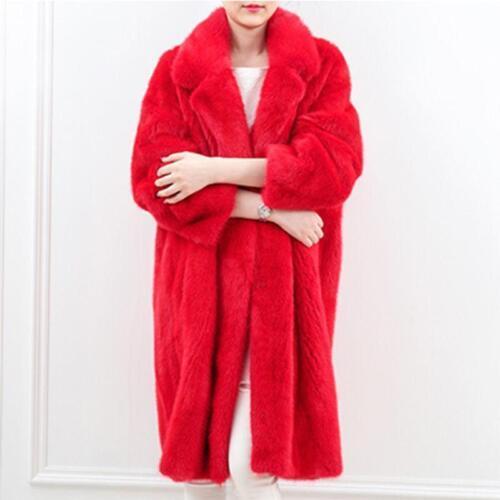 Winter Womens Red Mink Fur Coat Trench Loose Long Jacket Warm Parka Outwear
