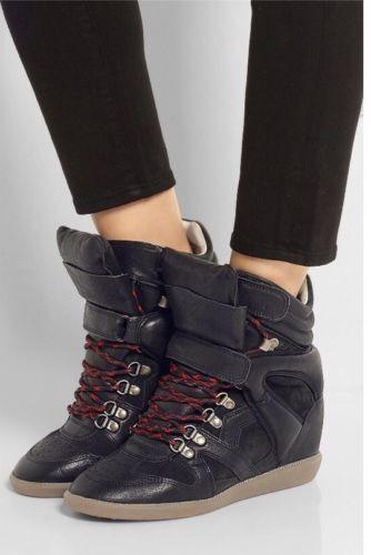 Isabel Isabel Isabel Marant Tibetan Black Leather Wedge Sneakers 37FR NIB d5d565