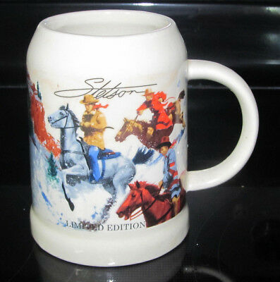 Stetson limited edition beer stein mug cowboy hauling christmas.