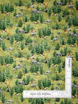 Brown Deer Wildlife Animal Warm Beige Cotton Fabric QT Deer Mountain By The Yard
