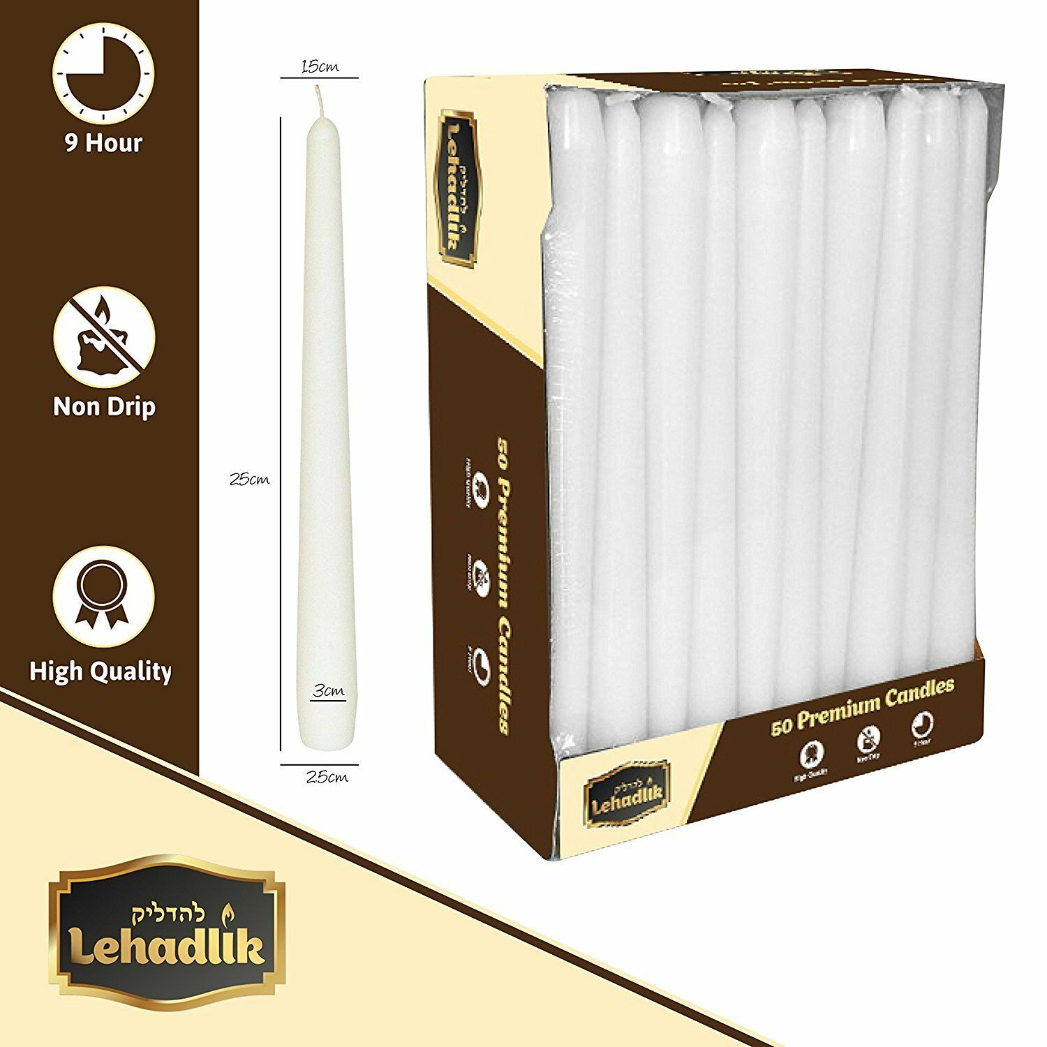 Lehadlik - 25cm Unscented White Bistro Style Smokeless Tapered Dinner Candles 8-9 Hours Burn Time Non Drip High Quality for Home / Events / Food Table / Restaurant / Wedding / Party * 50 In a Pack * Non-Drip