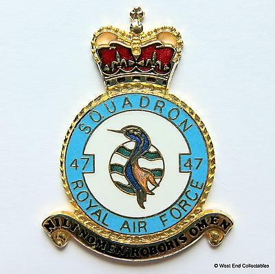 RAF 47 Squadron DANBURY MINT Blank Badge -24ct Gold Detail 1970s Royal Air Force
