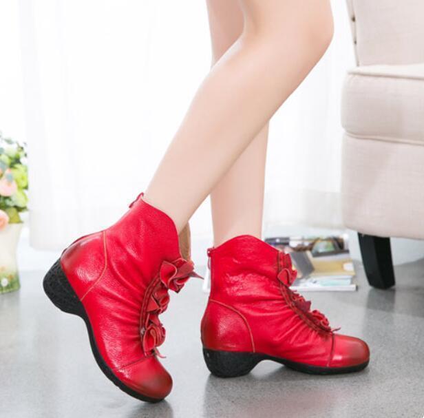 Retro Womens Womens Womens Ankle Boots Low Heel Flowers Zipper Soft Leather Fur Lined shoes U9 5b95fa
