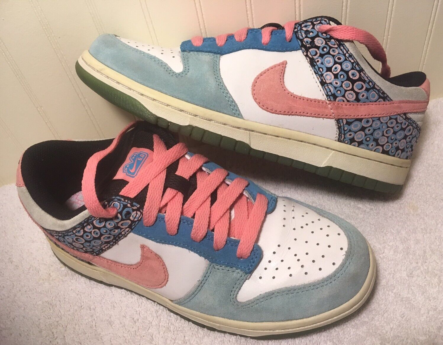 Nike 6.0 Dunk Low Skateboard Shoes Women's US 7 U.K 4.5 White Blue Pink  314141 Comfortable and good-looking