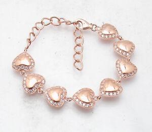 Adjustable-Clear-CZ-Gemstone-Tennis-Bracelet-14K-Rose-Pink-Gold-Clad-Silver