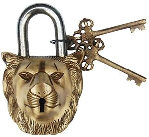 Lock With Key 5046 Brass Made Antique Style Lord Buddha Type Padlock