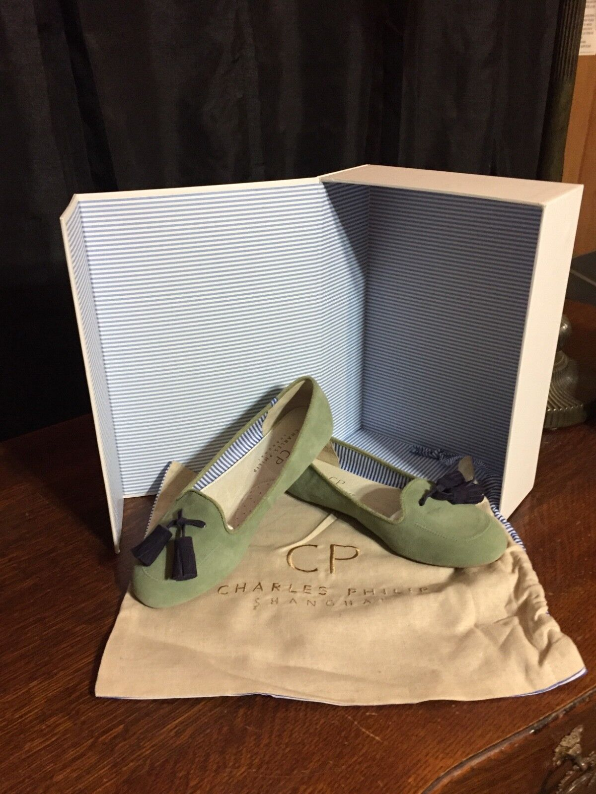 Anthropologie Charles Philip Shanghai Tassel Loafer Sage Suede Suede Suede Sz 7 New with box dd23e4