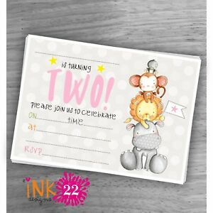 Image Is Loading Cute Kids Baby Girl Invitations Pack 039 Jungle