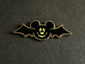 Mickey Mouse Vampire Bat Icon with Wings Halloween Glow in Dark Disney Pin 55583