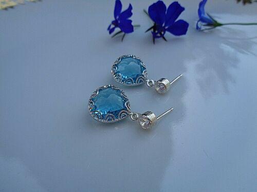 mit Kristall 925-er Silber Ohrringe aquamarin-blau und weiß