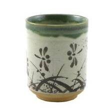 "Japanese 3.5""H Ceramic Sushi Tea Cup Mug Oribe Tombo Dragonfly/ Made in Japan"