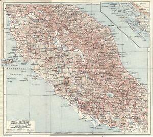 Cartina Stradale Di Italia.Italia Centrale Carta Geografica Touring Club 1924 Ebay
