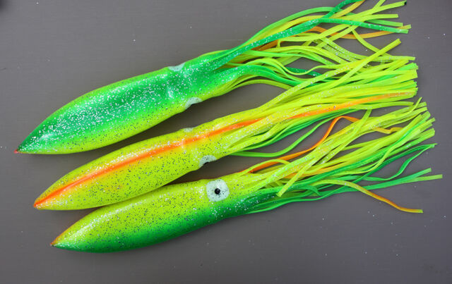 """5 LOT 12/"""" SEA STRIKER BULBHEAD SQUIDS FOR SPREADER BARS TEASERS CHARTREUSE"""