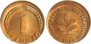 Rfa 1 Peniques 1969G Fehlprägung: 10% Dezentriert Prfr Pieza (1) Hermosa