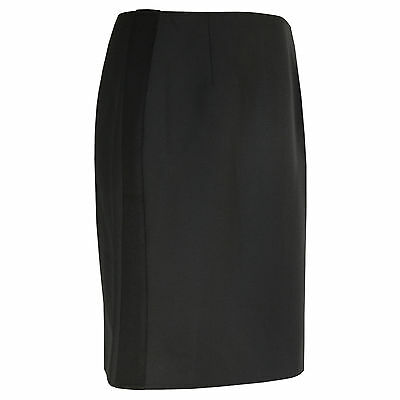 BOUCHRA JARRAR $683 black high waist wool blend side stripe C6 skirt 42-FR NEW