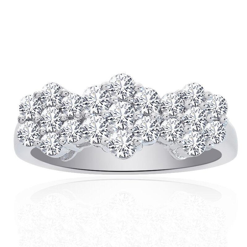 1.25 Carat Round Cut Diamond Triple Flower Cluster Ring 14K White gold
